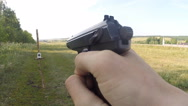 Shooting at targets from a gun Stock Footage