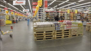 The interior of the shop in the supermarket Auchan Stock Footage