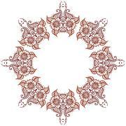 Circular floral ornament Mehndi Henna Tattoo Mandala, Yantra brown. Vintage Stock Illustration