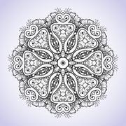 Circular black and white floral ornament Indian Hand drawn henna mehndi tattoo Stock Illustration