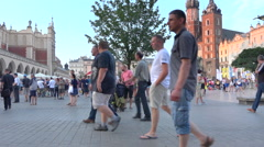 Krakow crowded main square during WYD 2016 - sunny summer afternoon Stock Footage