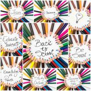Photo collage of Back To School conceptual images Stock Photos