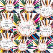 Photo collage of Brainstorming and Change conceptual images Stock Photos