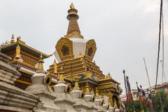 KATHMANDU, NEPAL-MAY 7: Monkey temple 7, 2016 in Kathmandu, Nepal. Swoyambhun Stock Photos