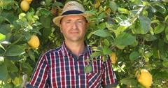 European Farmer Man Smiling and Showing OK Sign Hand Gesture Near Lemon Tree Stock Footage
