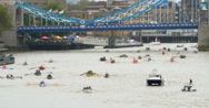 Rowing boats at Tower bridge in London Stock Footage
