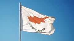 Flag of Cyprus. Cypriot official flag gently waving in the wind Stock Footage
