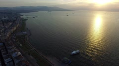 TURKEY - Izmir city center with coastline, ferries at sunset. Drone shot. Stock Footage