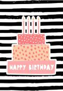 Birthday Cake Greeting Card Design Stock Illustration