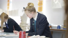 4K Group of teen girls in school art class, focus on 1 girl talking to her frien Stock Footage
