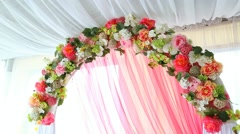 Floral decoration of festive arch made by synthetic flowers Stock Footage