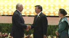 Najib Razak and Thongloun Sisoulith Stock Footage
