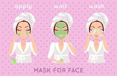 Mask for Face. Girl Applying a Face Scrub Stock Illustration