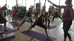 A Yogi instructor teaches yoga during Yoga Arava Stock Footage