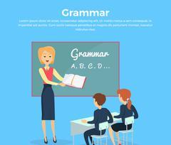 Childrens Grammar Teaching Illustration Stock Illustration