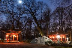 Traditional Chinese pavilions in Lazienki Park in Warsaw Stock Photos