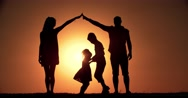4K, home concept, family silhouette father, mother, two children, dream of Stock Footage