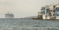 Large cruise ship port along the island of Mykonos Greece Stock Footage