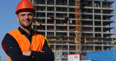 Engineer Man Smiling Looking Camera Under Construction Building Worker Portrait Stock Footage