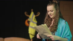 4K Young student actors in rehearsal for school theatre production Stock Footage
