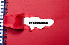 The word information appearing behind torn paper Stock Photos