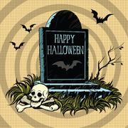 Happy Halloween grave tombstone cemetery skull and bones Stock Illustration