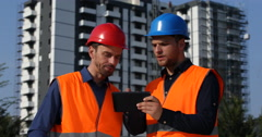 Engineer Men Work Analyzing Construction Building Project Teamwork Collaboration Stock Footage