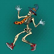 Funny Halloween skeleton in a fashionable tie and shoes Stock Illustration