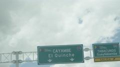 Cayambe El Quinche Highway sign ecuador Stock Footage