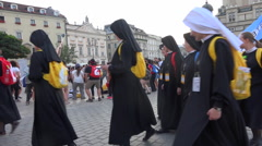 Krakow WYD 2016 - nuns, holly sisters, sisters group on main square, slow motion Stock Footage