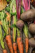 Carrots and beets with their stems Stock Photos