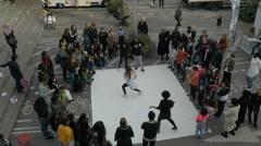 Dancers battling on street in Tensta, Stockholm Stock Footage