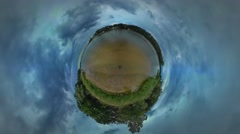 Little Tiny Planet 360 Degree River Green Trees Lake or Sea Landscape Travel in Stock Footage