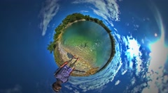 Little Tiny Planet 360 Degree Man Standing at Sea Looking at Rippling Water Stock Footage