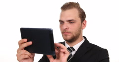 Attractive Businessman Work Digital Tablet and Looking Camera Company Workplace Stock Footage