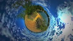 Little Tiny Planet 360 Degree Man Behind Bush Turquoise Water of the Sea Stock Footage