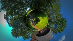 Little Tiny Planet 360 Degree Barn Old Village Rural Opole Landscape Cottage Stock Footage