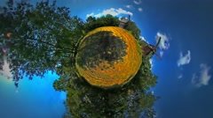 Little Tiny Planet 360 Degree Field Dry Stalks Mill on the Field Rural Opole Stock Footage