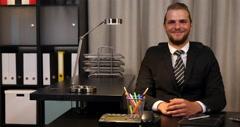Happy Ceo Businessman Looking Camera Presentation Negative No Answer Office Desk Stock Footage