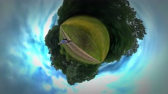 Little Tiny Planet 360 Degree Tourist is Walking by Footpath Woodland in Opole Stock Footage
