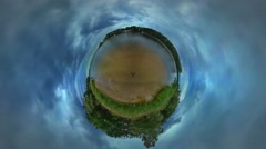 Little Tiny Planet 360 Degree Seaside Cloudscape Green Trees Lawn Grass Stock Footage