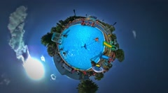 Little Tiny Planet 360 Degree Kid Slides by Chute in Aqua Park in Youth Day Stock Footage