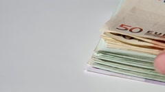 Much money Euro banknotes Stock Footage