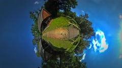 Little Tiny Planet 360 Degree Rural Opole Landscape Wooden Log Buildings Bridge Stock Footage
