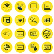 Set Of SEO, Marketing And Advertising Icons On HTML Code, Website Protection, Stock Illustration