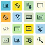 Set Of SEO, Marketing And Advertising Icons On Website Optimization, Audience Stock Illustration