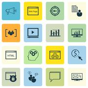 Set Of SEO, Marketing And Advertising Icons On HTML Code, Target Keywords, Pa Stock Illustration