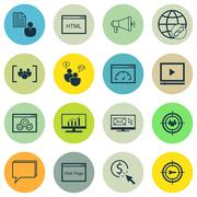 Set Of SEO, Marketing And Advertising Icons On Comprehensive Analytics, Viral Stock Illustration