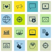 Set Of SEO, Marketing And Advertising Icons On Viral Marketing, Target Keywor Stock Illustration