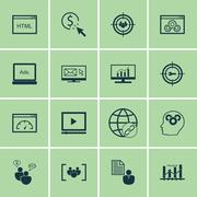 Set Of SEO, Marketing And Advertising Icons On Client Brief, Creativity, Targ Stock Illustration